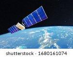 Space Satellite Orbiting Over...