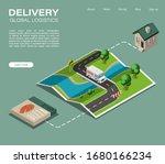 isometric map delivery van... | Shutterstock .eps vector #1680166234