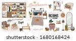 stylish scandinavian bedroom...   Shutterstock .eps vector #1680168424