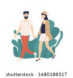 casual young couple walking... | Shutterstock .eps vector #1680188317