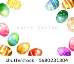colored easter eggs and... | Shutterstock .eps vector #1680231304
