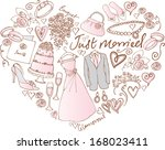 wedding icons arranged in heart ... | Shutterstock .eps vector #168023411