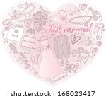 wedding icons arranged in heart ... | Shutterstock .eps vector #168023417