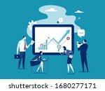 business plan. team analyzing... | Shutterstock .eps vector #1680277171