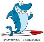 Smiling Blue Shark Cartoon...
