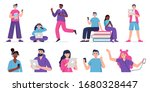people listen to music ... | Shutterstock .eps vector #1680328447
