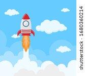 rocket launch on space in flat... | Shutterstock .eps vector #1680360214