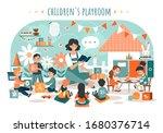 children playroom  kids with... | Shutterstock .eps vector #1680376714