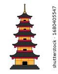 japanese pagoda. simple cartoon ... | Shutterstock .eps vector #1680405547