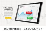 tablet with falling stock trade ...   Shutterstock .eps vector #1680427477