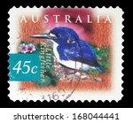 Small photo of AUSTRALIA - CIRCA 1997: a stamp printed in the Australia shows Little Kingfisher, Alcedo Pusilla, Bird, circa 1997