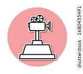 cinema camera cup sticker icon. ...