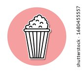 pop corn sticker icon. simple...
