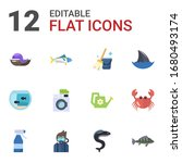 12 water flat icons set... | Shutterstock .eps vector #1680493174