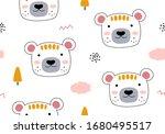 seamless pattern with cartoon...   Shutterstock .eps vector #1680495517