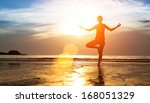 silhouette of woman practicing... | Shutterstock . vector #168051329