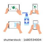 the tablet and phone are... | Shutterstock .eps vector #1680534004