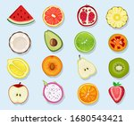 half fruits circle icons. cute...   Shutterstock .eps vector #1680543421