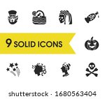 halloween icons set with...