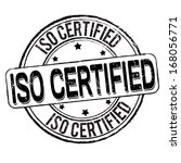 Iso certified grunge rubber stamp on white, vector illustration