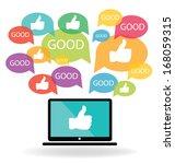 social media. hand signs vector.... | Shutterstock .eps vector #168059315