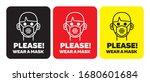 please wear a mask sticker or... | Shutterstock .eps vector #1680601684