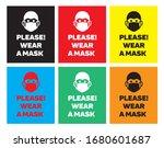 please wear a mask sticker or... | Shutterstock .eps vector #1680601687