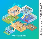 isometric office life people... | Shutterstock .eps vector #1680629617