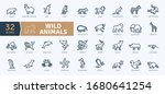 wild animals icons pack. thin... | Shutterstock .eps vector #1680641254
