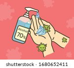 clean hands with alcohol gel....   Shutterstock .eps vector #1680652411