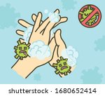 clean hands thoroughly to kill...   Shutterstock .eps vector #1680652414