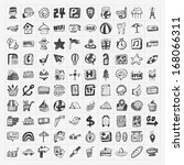 doodle travel icons set | Shutterstock .eps vector #168066311