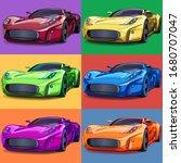 Pop Art Sports Cars. Six Colors ...