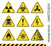 warning signs. hazard icons set.... | Shutterstock .eps vector #1680721024