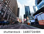 Small photo of New York/United States- 03.22.2020 Abandoned Times Square at quarantine time in New York City