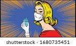 blonde female wearing mask...   Shutterstock .eps vector #1680735451