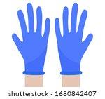 hands in protective gloves.... | Shutterstock .eps vector #1680842407