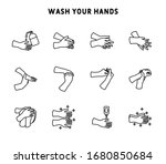 wash hands icon set for...   Shutterstock .eps vector #1680850684