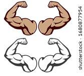 cartoon hard muscle. strong arm ... | Shutterstock .eps vector #1680877954