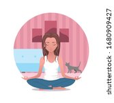 online yoga at home. meditation ... | Shutterstock .eps vector #1680909427