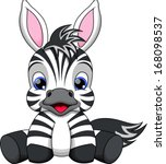 Stock vector illustration of a cute baby zebra 168098537