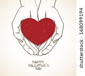 love greeting card with sketch...   Shutterstock .eps vector #168099194