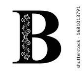 letter b. vintage black flower...   Shutterstock .eps vector #1681013791