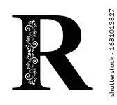 letter r. vintage black flower...   Shutterstock .eps vector #1681013827