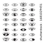 eye vision black line art... | Shutterstock .eps vector #1681029451