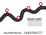 flat road with pins.highway for ...   Shutterstock .eps vector #1681036177