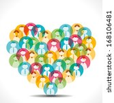 colorful people icon make heart ...   Shutterstock .eps vector #168106481