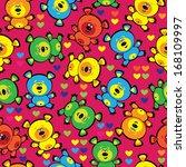 multicolored teddy bears... | Shutterstock . vector #168109997