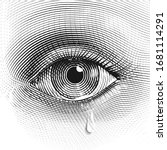 sad woman eye with a tear in... | Shutterstock .eps vector #1681114291