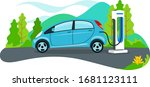 vector of car being charged at... | Shutterstock .eps vector #1681123111